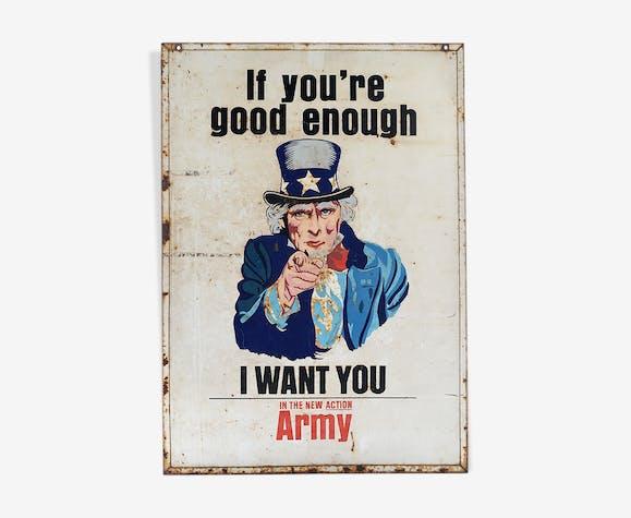 Plaque émaillée de l'armée américaine recto/verso circa 1942