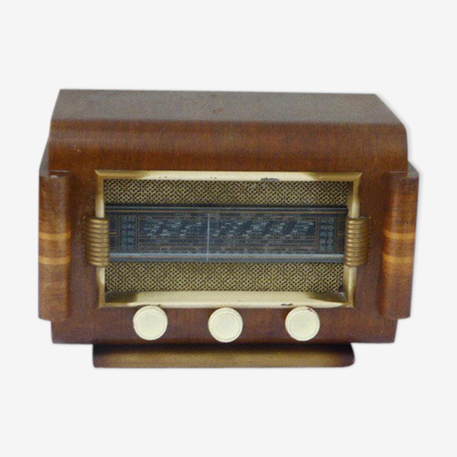 Radio en bois marqueté, vintage 1950