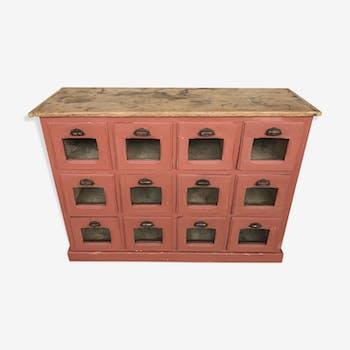 Ancien meuble de métier à tiroirs épicerie grainetier début XXème patiné