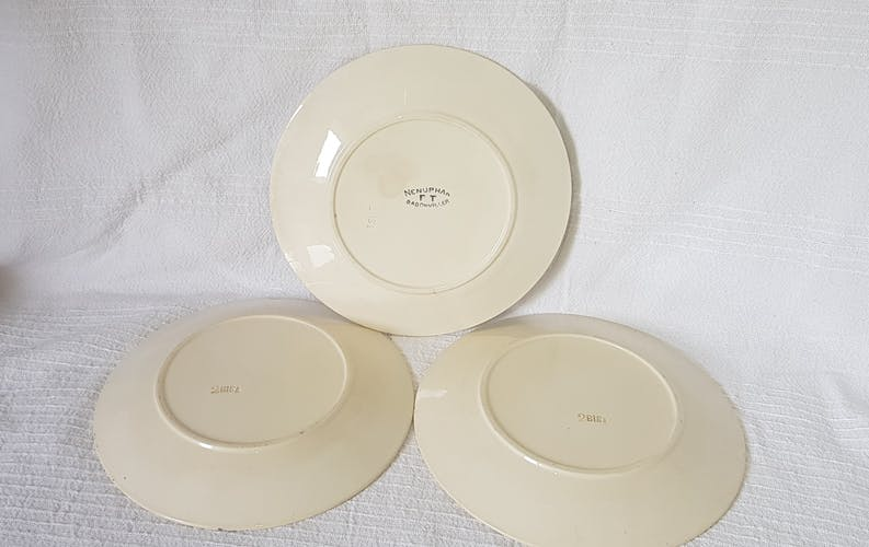 3 assiettes plates en faïence de Badonviller modèle Nénuphar, terre de fer