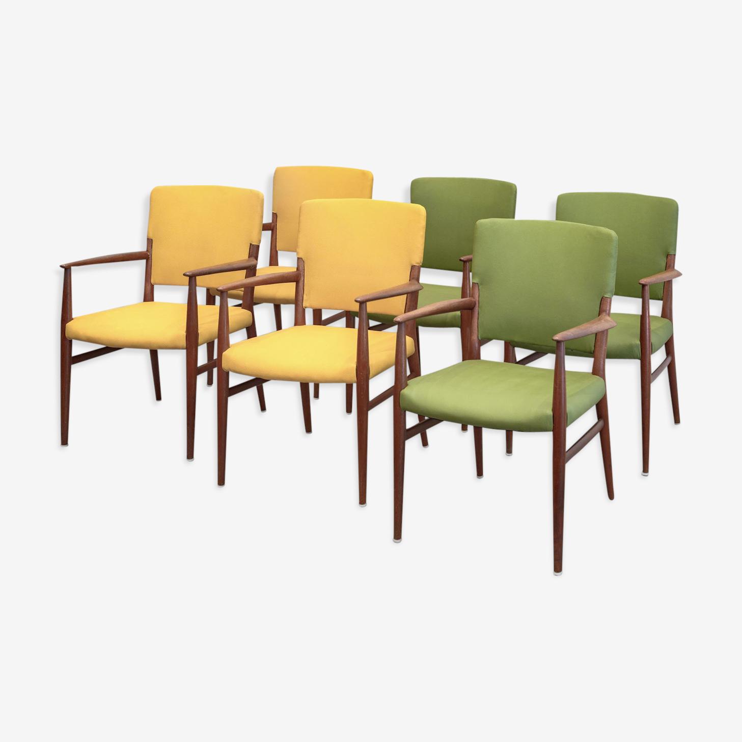 6 fauteuils scandinaves 1950