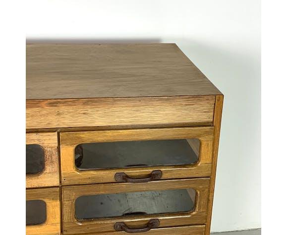 Armoire de mercerie vintage oak 15 tiroirs des années 1930