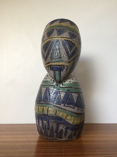 Pitcher decorated african mask signed Accolay