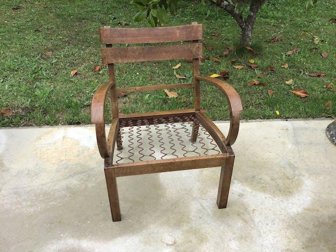 Low walnut wooden armchair, vintage 50