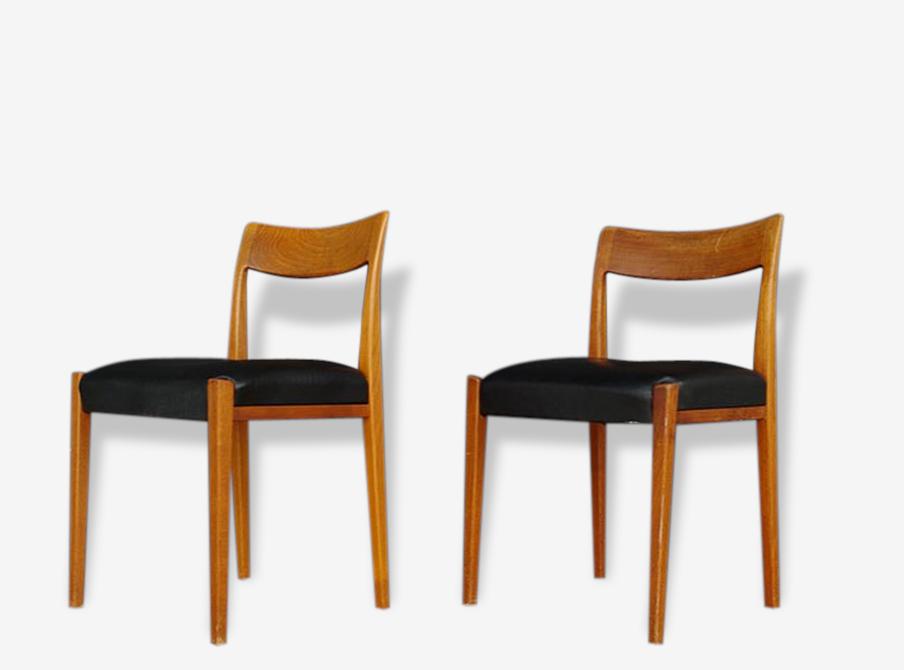 Paire De Chaises Suedoises Design Scandinave Lina Bois Materiau