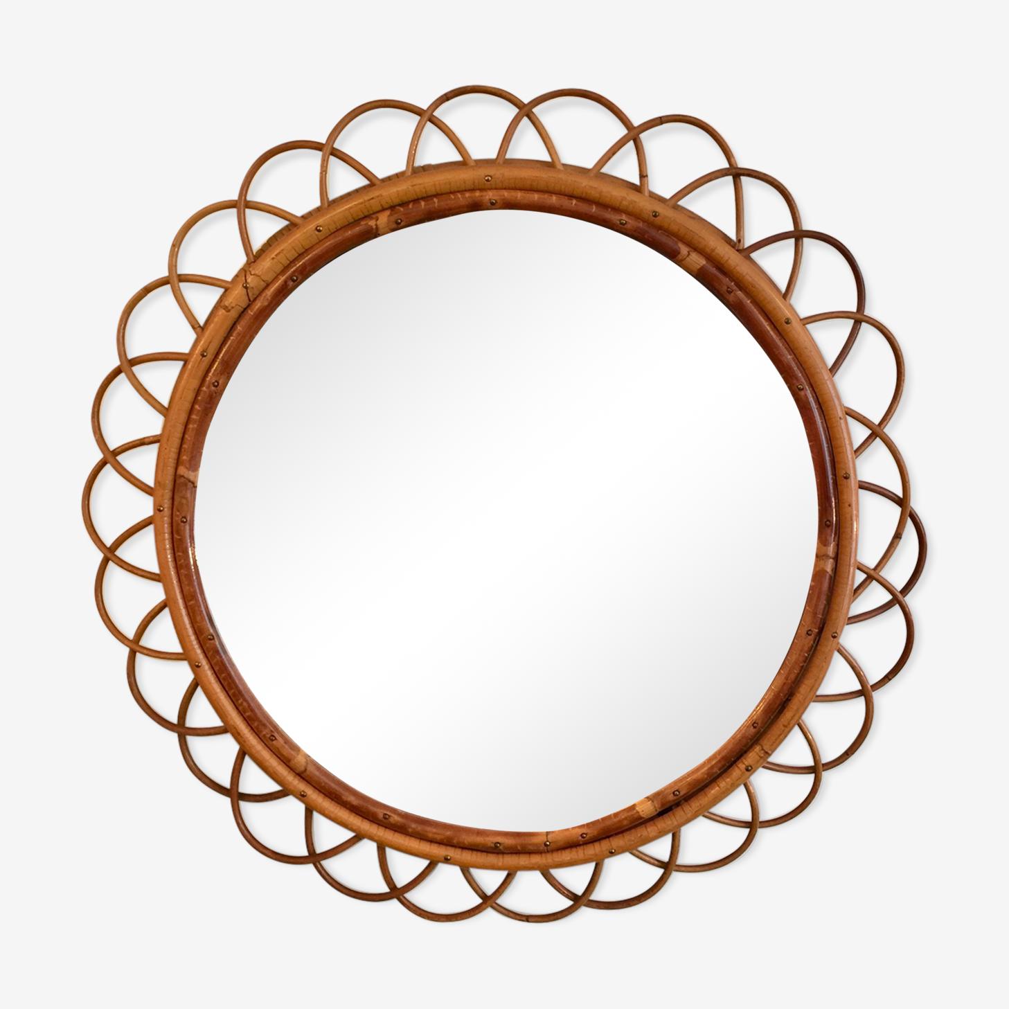 Miroir en rotin grand format forme fleur des années 60 56cm
