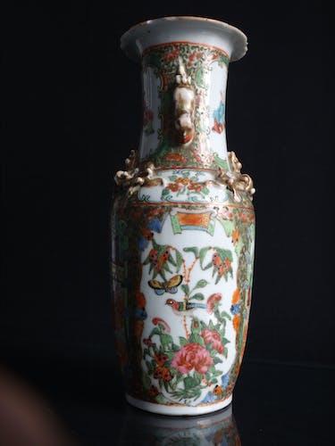 Vase porcelaine Chinois chien de fo 26cm Chine famille rose Canton XIX