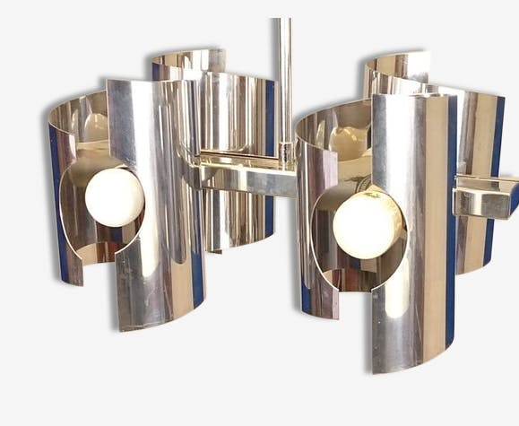 Lustre vintage chrome design space age 4 lampes - métal - vintage ...