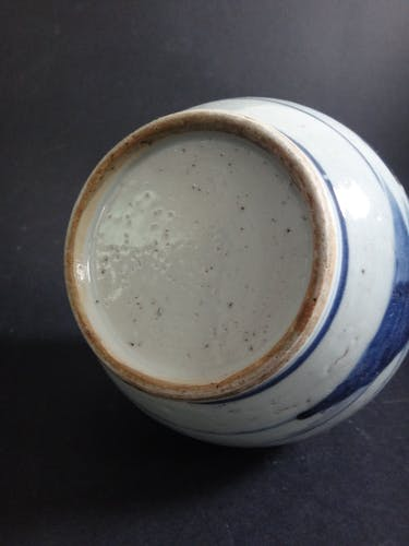 Ancien vase chinois piriforme porcelaine blanc bleu Chine XIXe