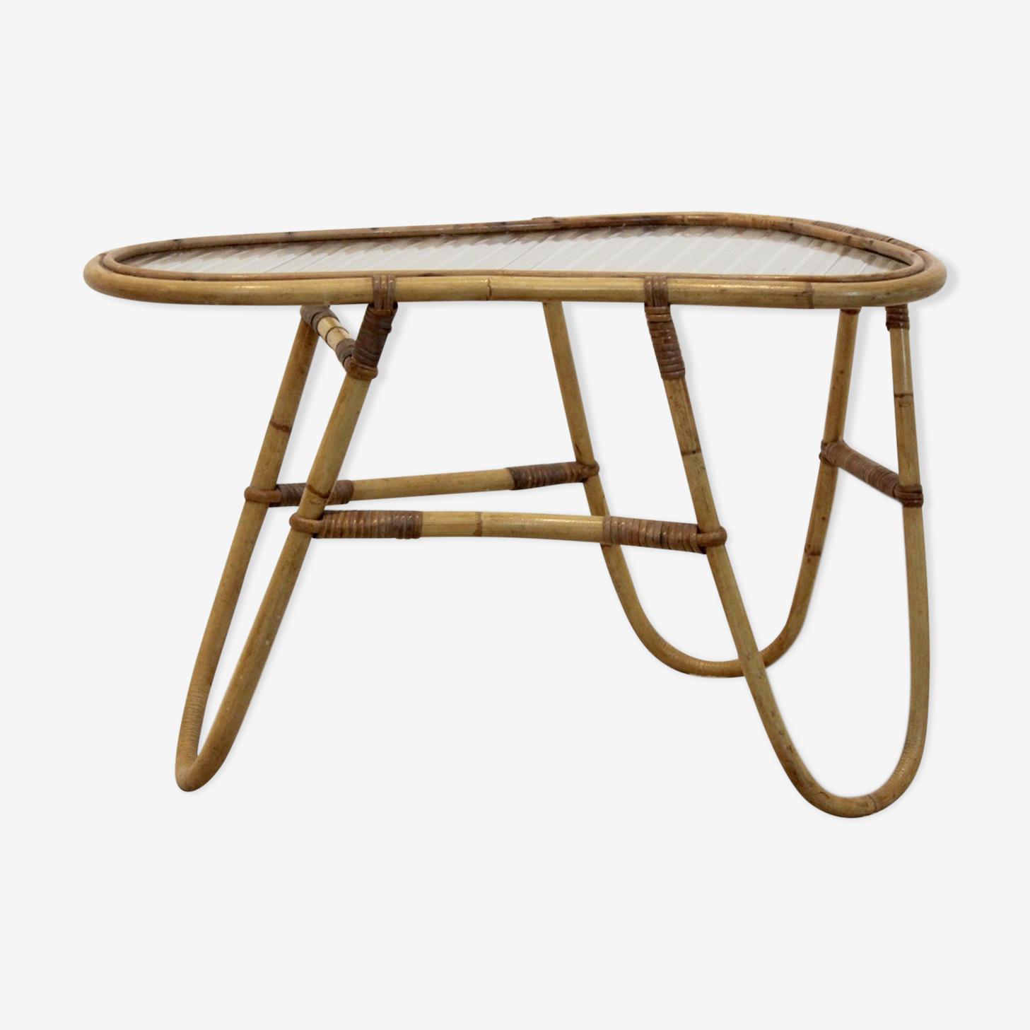 Wicker Glass Side Table for Rohé Noordwolde, Netherlands