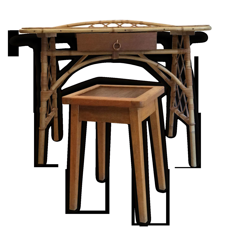 Bureau coiffeuse vintage en rotin et son tabouret en bois rotin