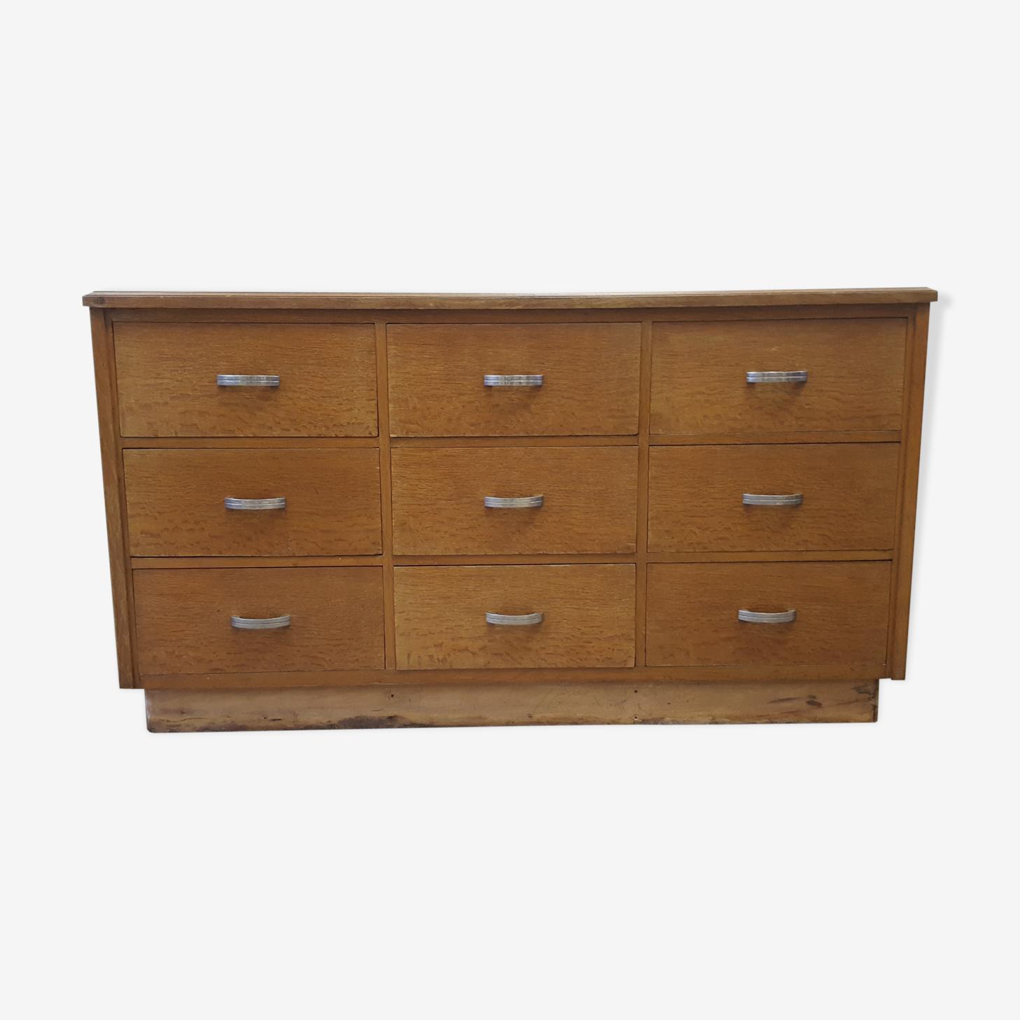 Comptoir 9 tiroirs, meuble mercerie