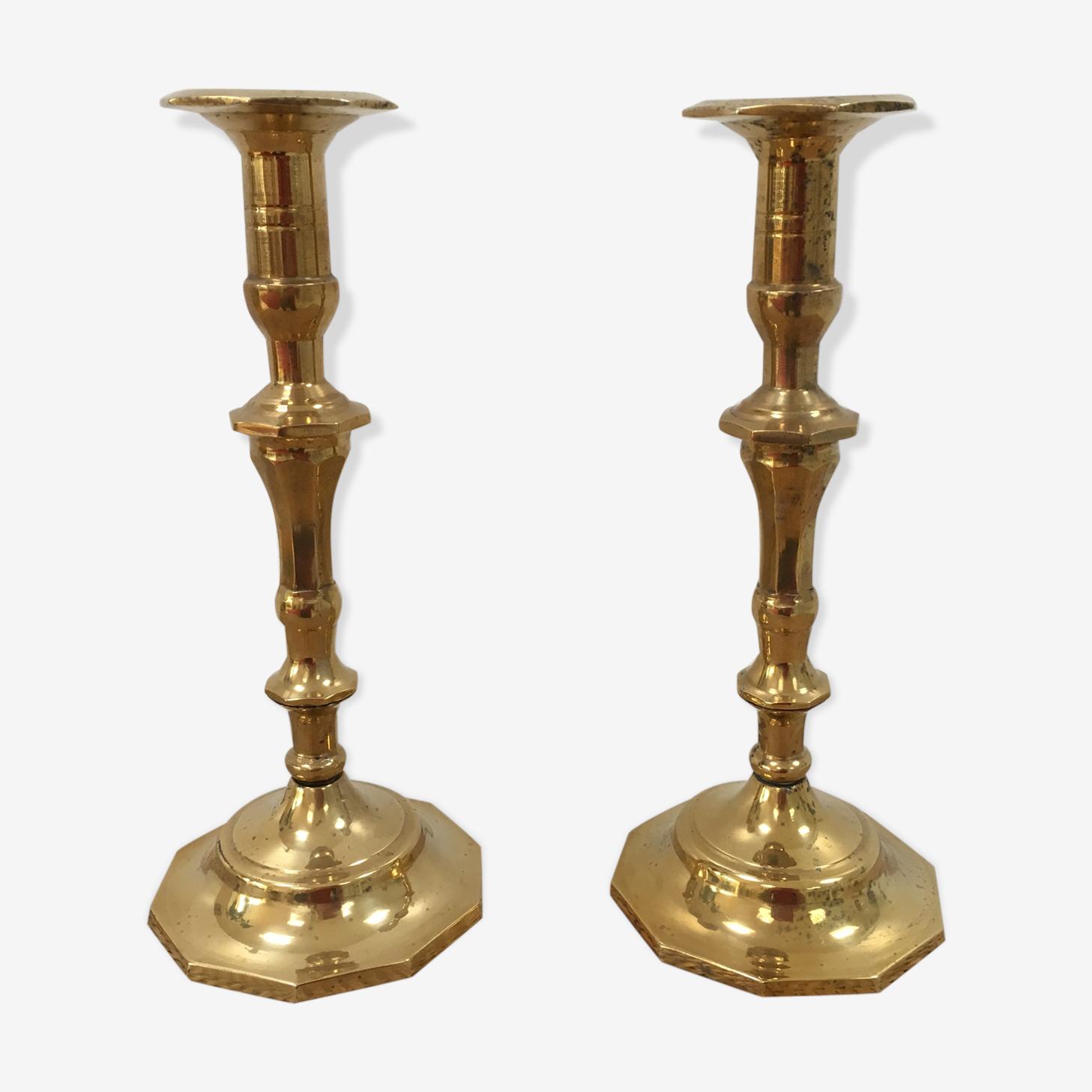 Duo de chandeliers anciens en laiton