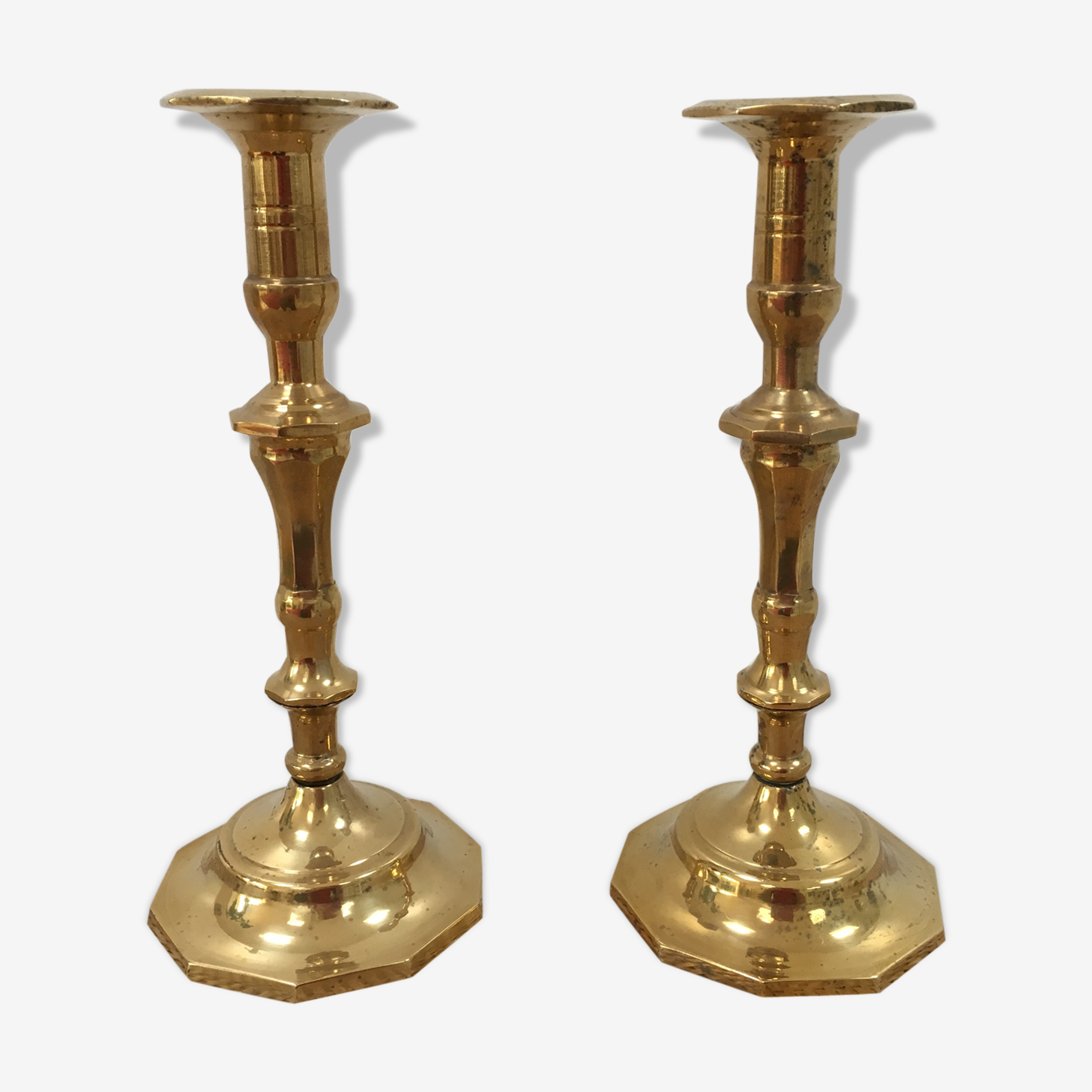 Old candlesticks in brass duo