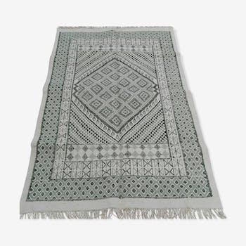 Tapis blanc et vert en laine 125x195cm