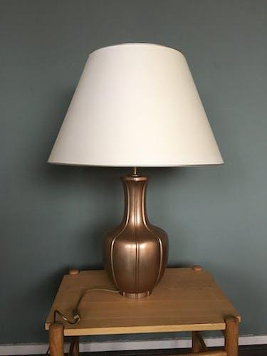 Vintage Metal Hollywood Regency Table Lamp, 1970s