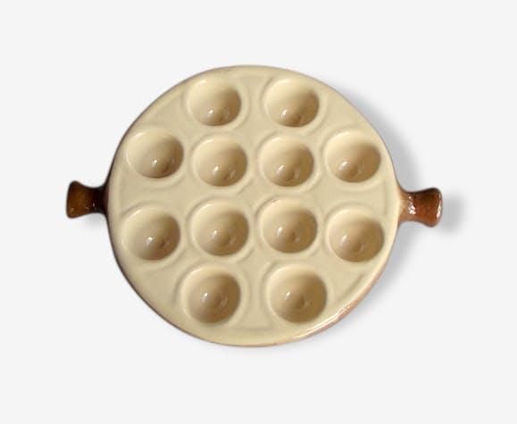 assiette escargots en c ramique beige et marron plateau pour escargot la bourguignonne. Black Bedroom Furniture Sets. Home Design Ideas