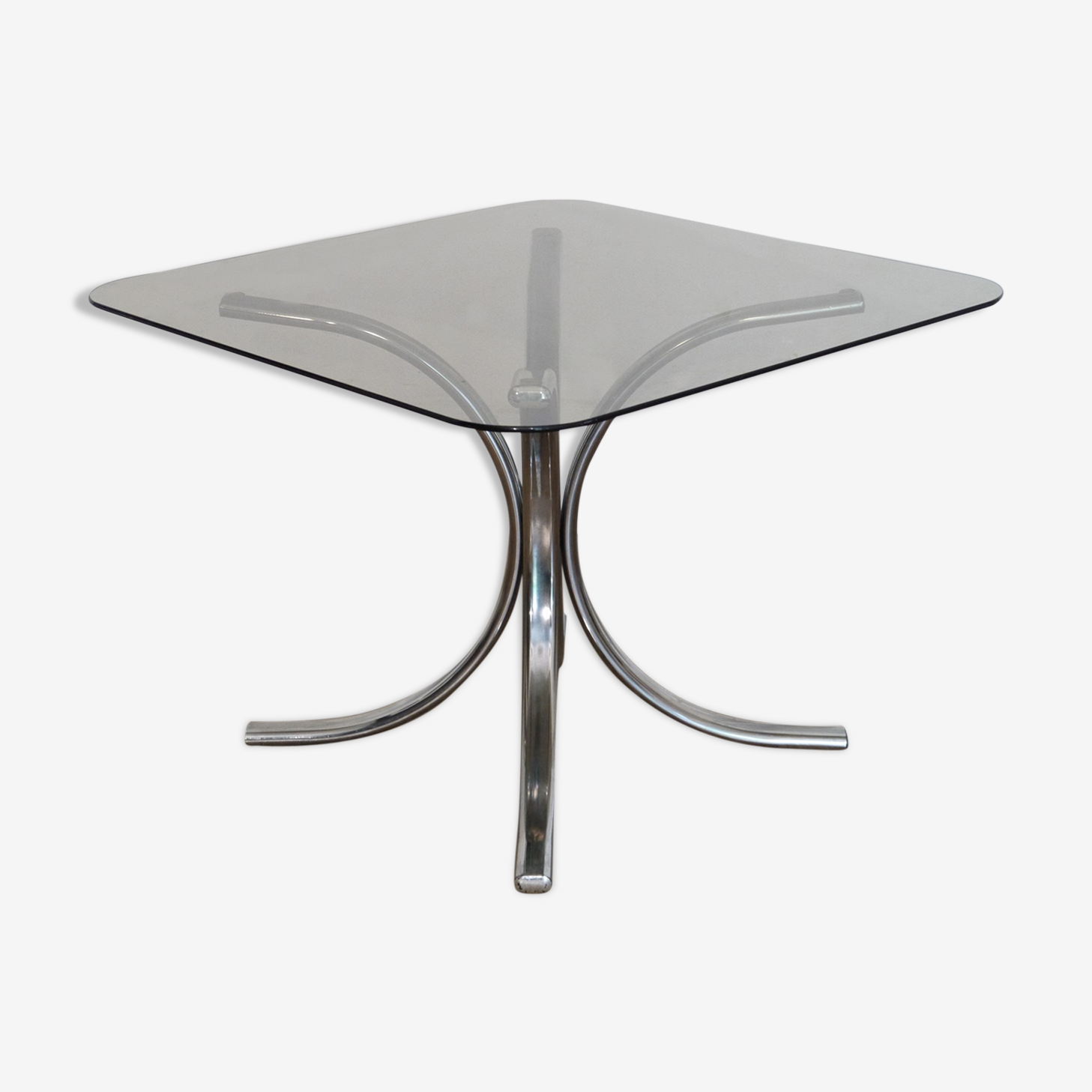 Vintage glass side table and chrome 1970