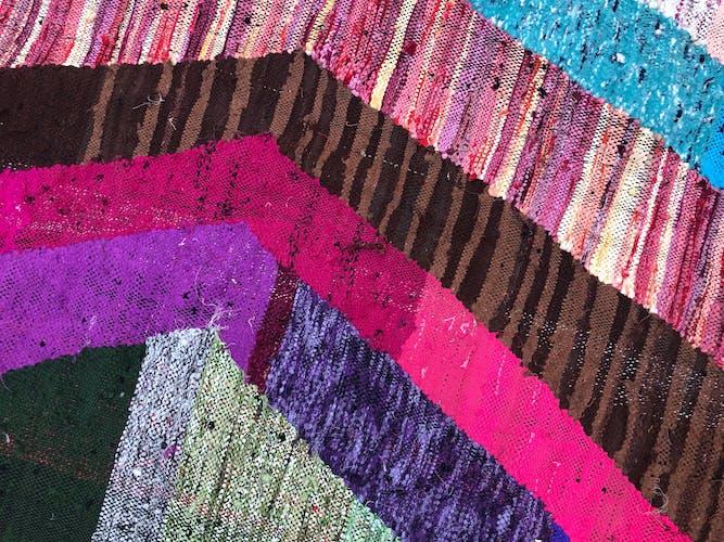 Moroccan Berber carpet Kilim Boucherouite 2x1.13m