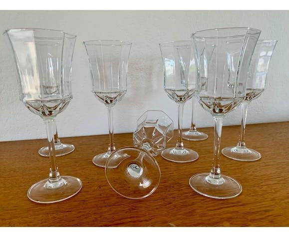 Set de 8 verres à vin ou eau forme octogonal en verre