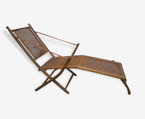 Chaise Longue Bois Et Cannage Wood Brown Art Deco 167256