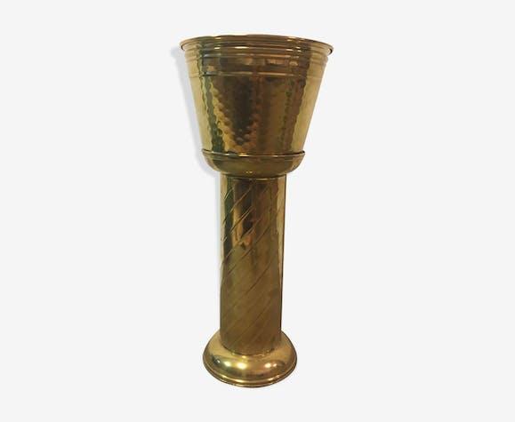 Brass planter pot with column