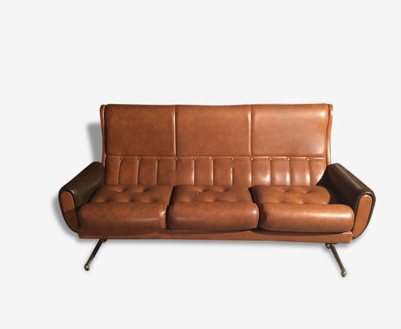 Canapé années 50 - cuir - marron - vintage - 155742