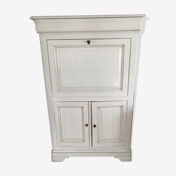 Sécretaire blanc crème en bois, charmant et fonctionnel