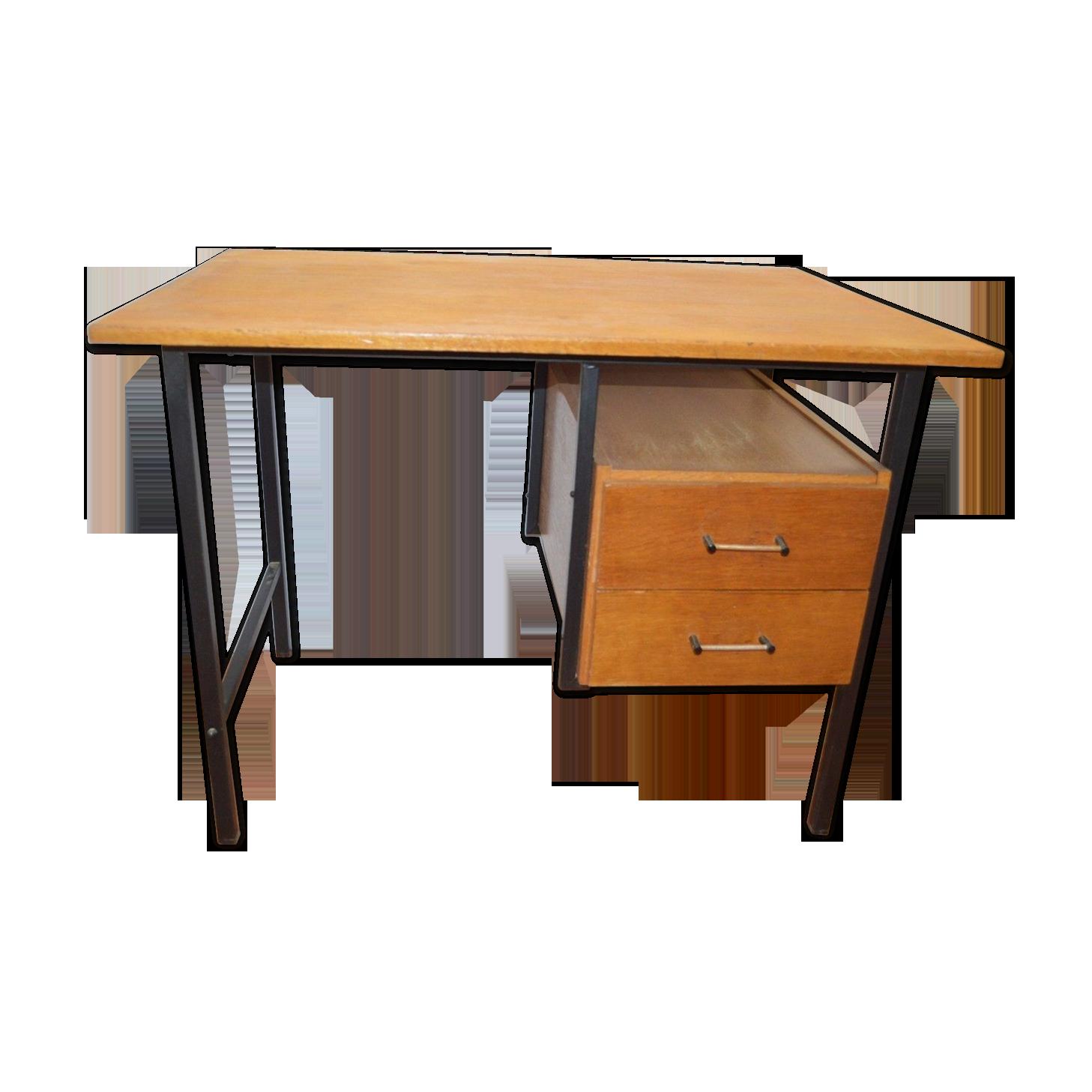 Bureau vintage en fer et bois bois matériau bois couleur