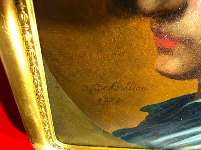 Huile sur toile datée de 1854 représentant un portrait d'homme signé