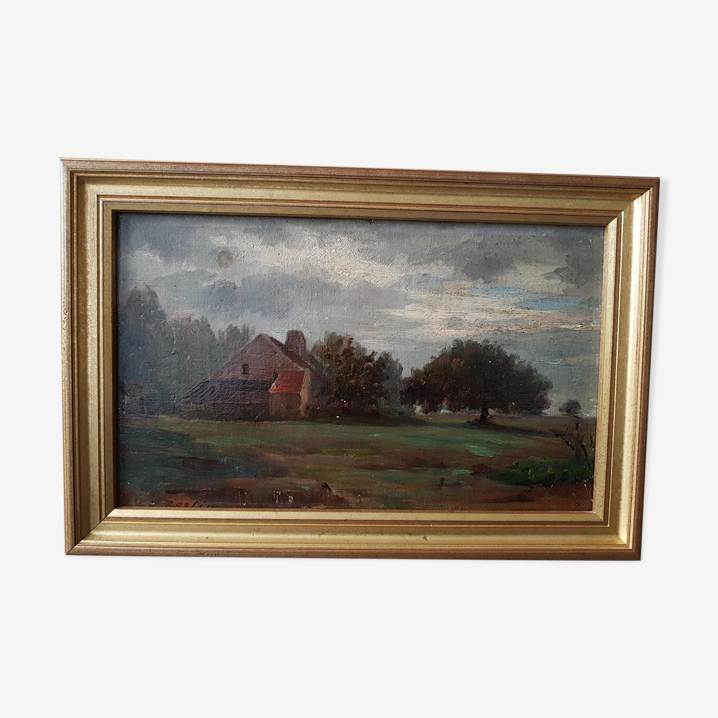 Ancienne huile sur panneau 19ème avec cadre
