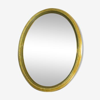Curved mirror of oval witch 20th 44 cm Golden wooden ice convex witch