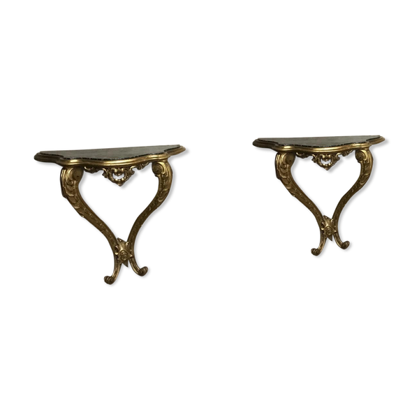 Paire de consoles en bois doré sculpté de style Louis XV