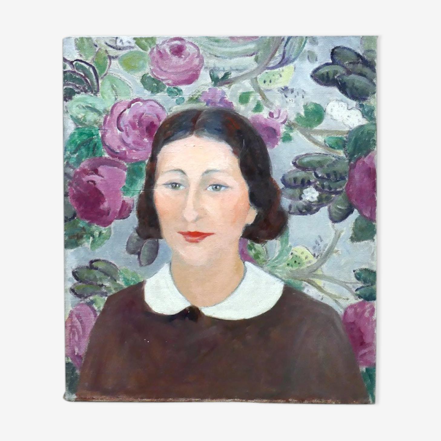 Tableau portrait femme au papier peint huile sur toile attribué à G.Grenthe
