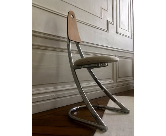 Chaise chromée vintage 1980