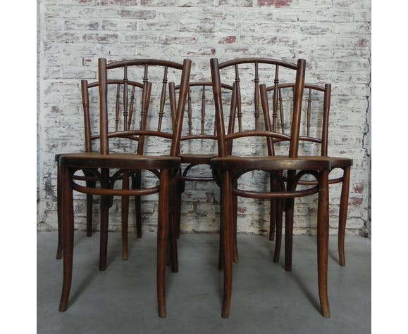 5 chaises de café en hêtre