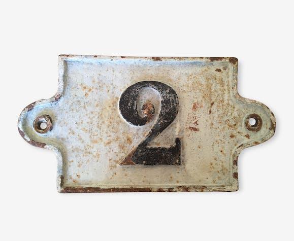 Plaque num ro de maison ancienne en fonte patine d 39 origine fonte bleu classique 93455 - Plaque de numero de maison ...