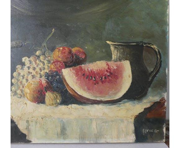 Tableau huile sur toile nature morte aux fruits