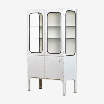 Vintage glass and iron medical cabinet, 1970s