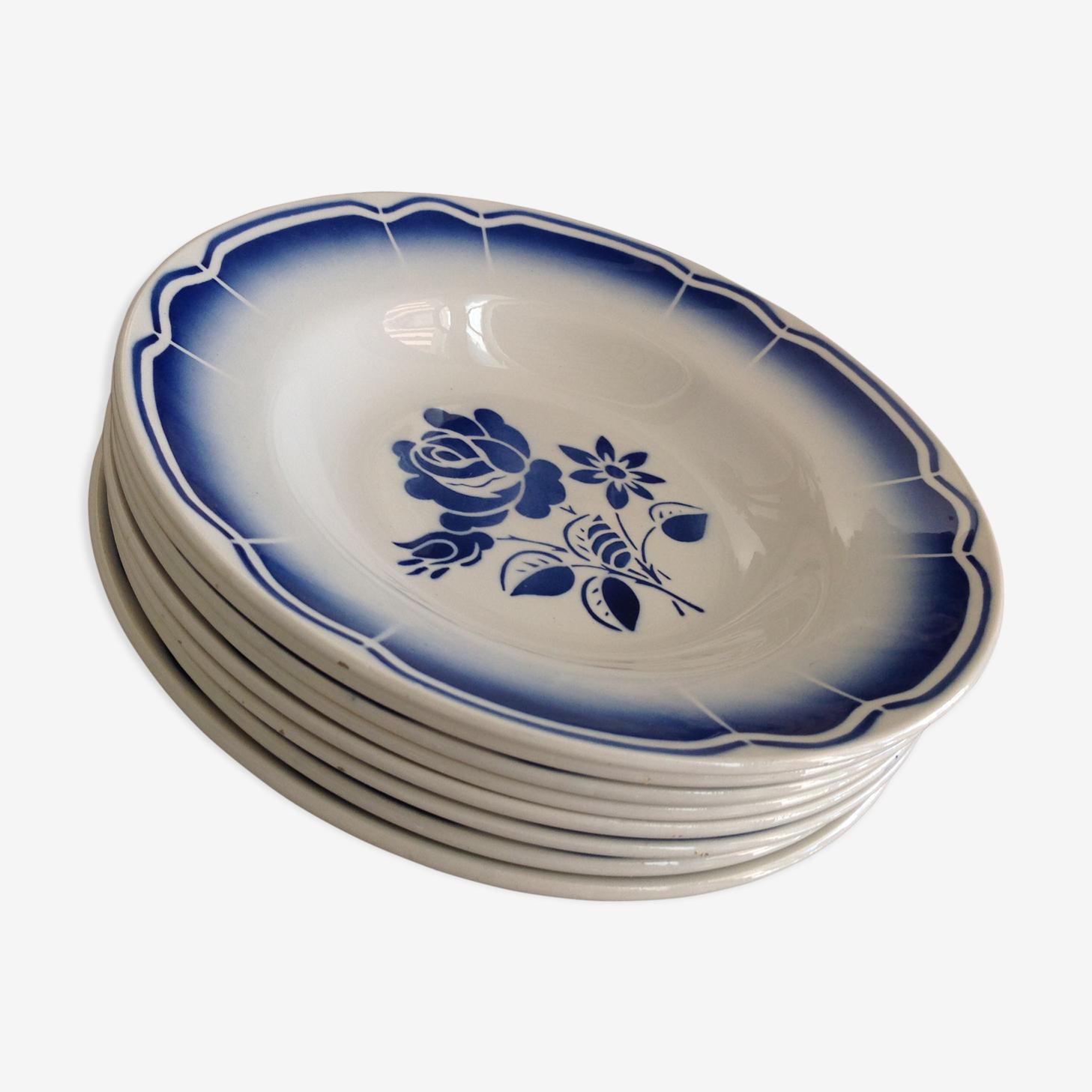 Eight soup plates of Badonvillers décor flowers blue vintage 50-60