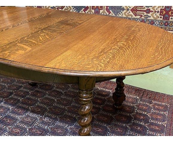 Table anglaise en chêne à allonge papillon - années 50
