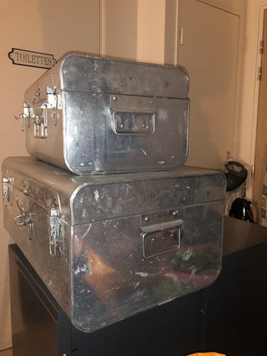 Vintage metal trunks