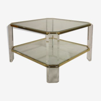 Brass and lucite coffee table, 1970 by Fedam
