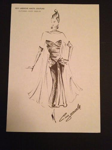 Illustration de mode de presse par Guy Laroche- époque - fin des années 80