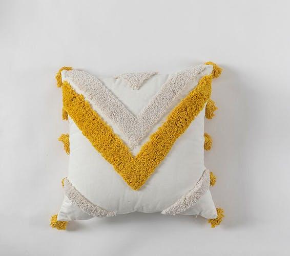 Coussin bohème jaune berbère 30x50 cm