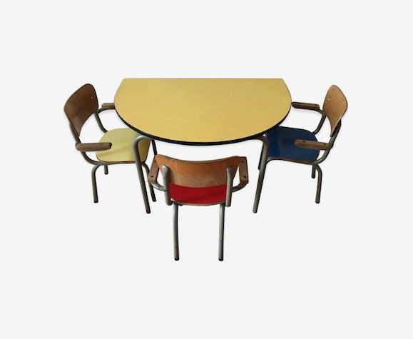Formica Et 3 Enfants Table Chaises Vintage D'école Jaune XPiwkuOZT