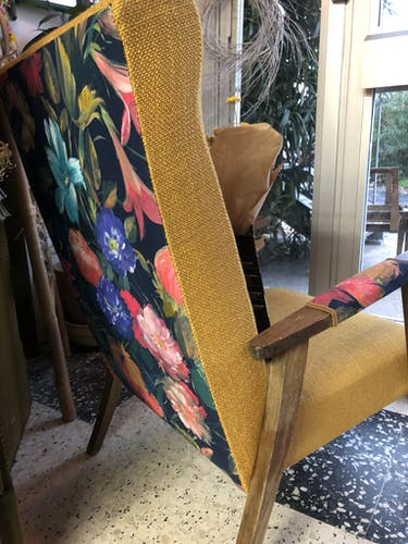 Duo of 60s Scandinavian seats, compass feet, completely restored by a tapestry