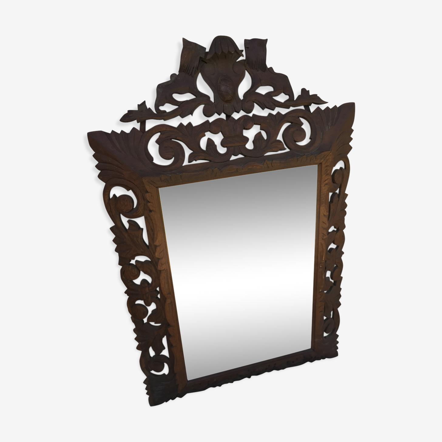 Miroir vosgien 18ème bois sculpté