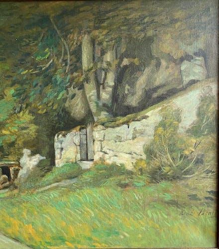 Tableau ancien, paysage champêtre, signé René Bentz XX siècle