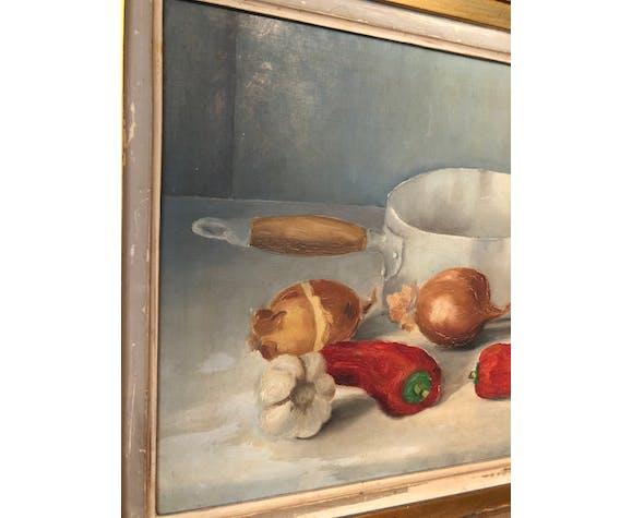 Peinture à l'huile, nature morte, 1955